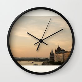 Sun sets over Budapest Wall Clock