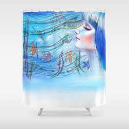 Aqua Girl Shower Curtain