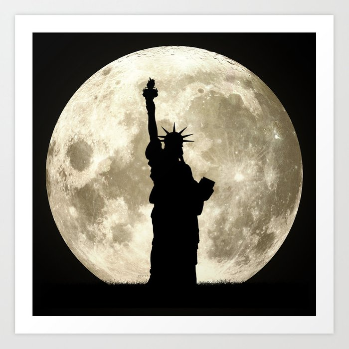 Full Moon Liberty Silhouette  Art Print