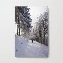 Sunny snow hike Metal Print