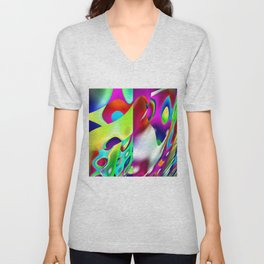 A Funhouse In Abstract Art By Annie Zeno Unisex V-Neck