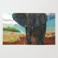 african Area & Throw Rugs featuring African Elephant by Ben Geiger