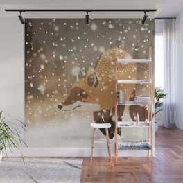 Sneaky smart fox in snowy forest winter snowflakes drawing Wall Mural