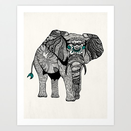 Tribal Elephant Black and White Version Art Print