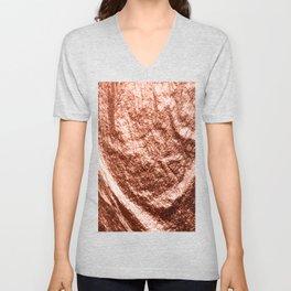 Rose gold draped foil Unisex V-Neck