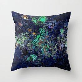Dark Indigo Turquoise Abstract Design Throw Pillow