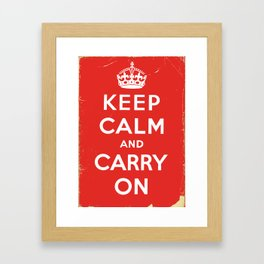 Classic Vintage 'keep calm and carry on' print Framed Art Print