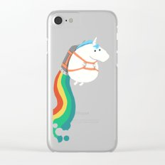 Fat Unicorn on Rainbow Jetpack Clear iPhone Case
