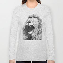 Black White Fierce Lion Long Sleeve T-shirt