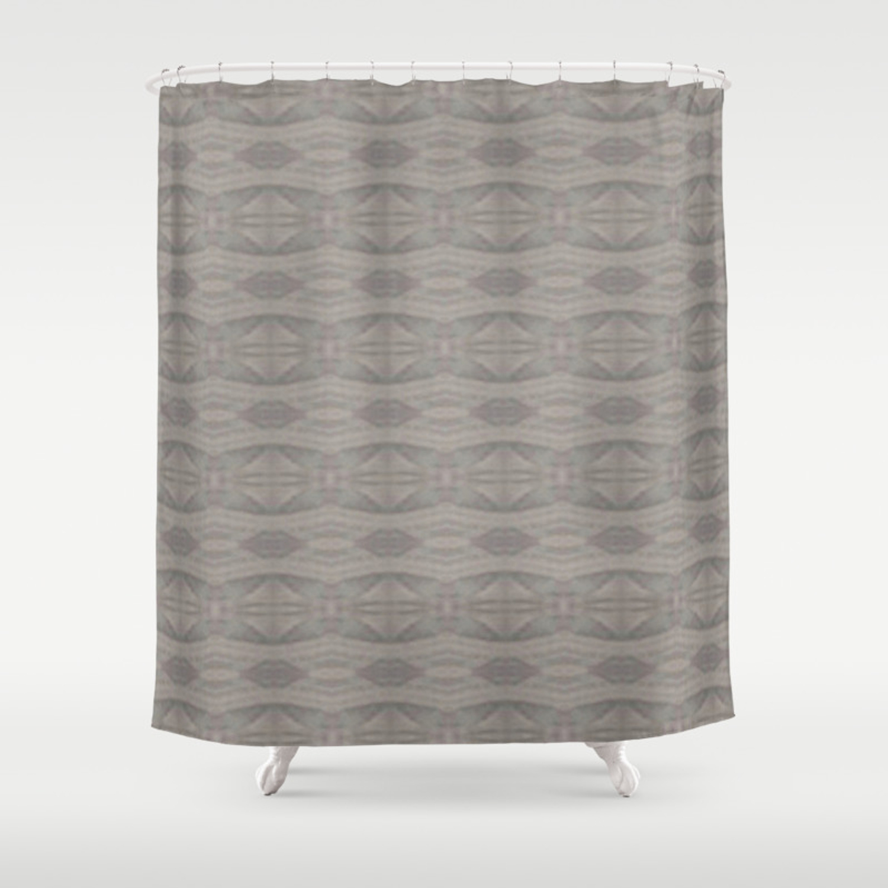 Elegant Gray Geometric Southwestern Pattern Luxury Fabric Corbin Henry Shower Curtain