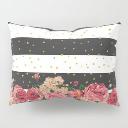 Modern black stripes gold faux glitter floral Pillow Sham