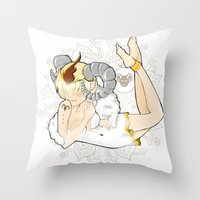 aries Throw Pillows featuring Aries by Mhel