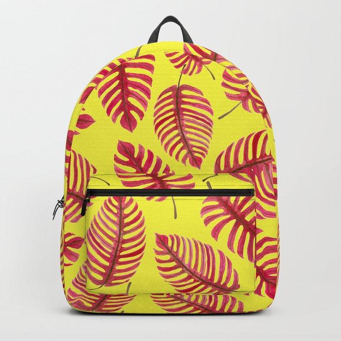 Monstera leaves, tropical watercolor pattern Backpack