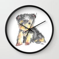 yorkie Wall Clocks featuring Yorkie Pup by The Painted Lace