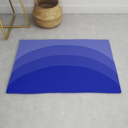 Four Shades of Blue Curved Rug