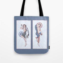 Steve and Bucky Pinups Tote Bag