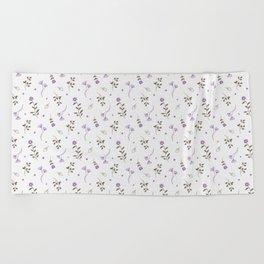 Lavender and Brown Spring Floral Print Beach Towel