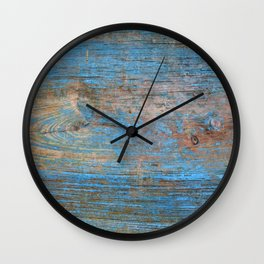 Blue Wood Grain Wall Clock