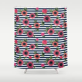 Watercolor Flowers with Nautical Stripes Shower Curtain