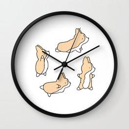 Corgi Yoga Work in Progress Yogi Wall Clock