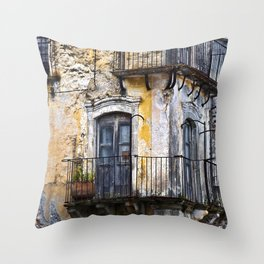 Urban Sicilian Facade Throw Pillow