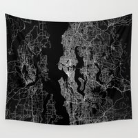 seattle Wall Tapestries featuring Seattle map by Line Line Lines