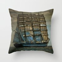 ships Throw Pillows featuring Ships by InDepth Designs