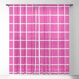 Pink Grid Pattern 2 Sheer Curtain