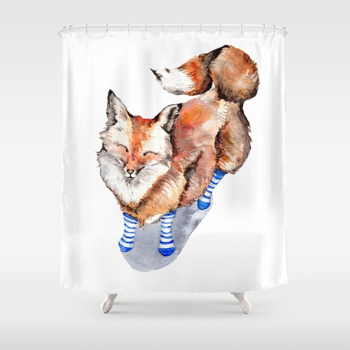 Smiling Red Fox in Blue Socks Shower Curtain