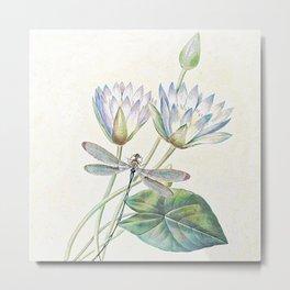 lotus and dragonfly Metal Print