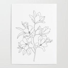 Minimal Line Art Magnolia Flowers Poster
