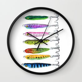 Fishing Lures - alcohol ink Wall Clock