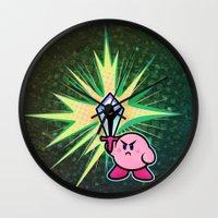 kirby Wall Clocks featuring Kirby Sword by likelikes