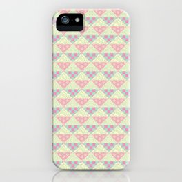 Japanese Style Patchwork Pattern in Pink, Green & Yellow iPhone Case