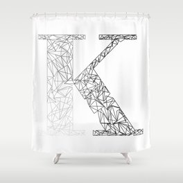 ''Geometry Collection'' - Minimal Letter K Print Shower Curtain