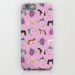 horse, floral, florals, flowers, pink, flowers, bloom, horse, horse bedding, horse blanket, horse, p iPhone Case