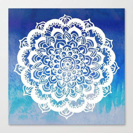 White Floral Medallion on Indigo & Turquoise Watercolor Canvas Print