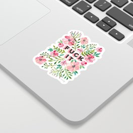 Fuck It – Pink & Green Floral Palette Sticker