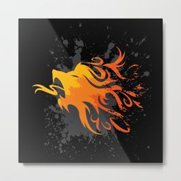 Fire Lion Metal Print