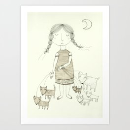 The Dog Walker.  Art Print
