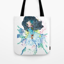 Blue nature with baby fox Tote Bag