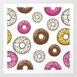 Funfetti Donuts - White Art Print