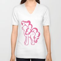 pie V-neck T-shirts featuring Pinky Pie by Tanya Thomas