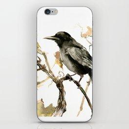 Crow in the Fall, Tribal Crow Raven art iPhone Skin