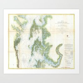 Vintage Map of The Chesapeake Bay (1857) Art Print