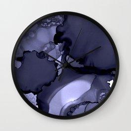Blue-grey abstract alcohol ink art Wall Clock