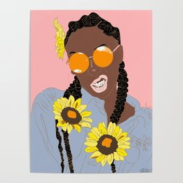 Black Flower Goddess - Digital Vector Drawing Poster
