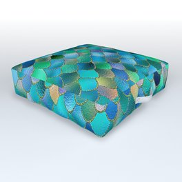 Summer Ocean Metal Mermaid Scales Outdoor Floor Cushion