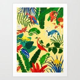 Nine Chameleons Hiding in the Tropics Art Print