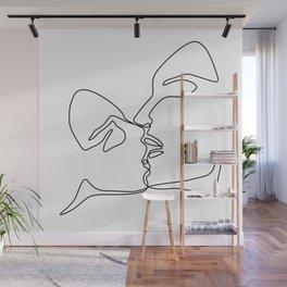 Kiss Line Art Print Wall Mural